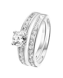 Zilveren Dubbele Ring Met Zirkonia