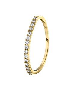 925 Silber-Ring, vergoldet, mit einer Reihe Zirkonia-Besatz