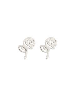 Snap Earrings Rose Silver