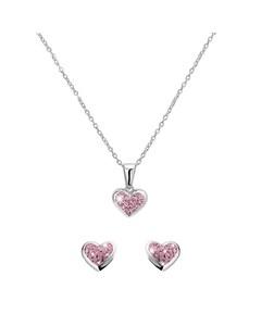 Zilveren Kinderset Hart Met Licht Roze Kristal > Maat 38 Cm