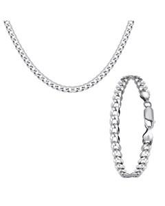 Zilveren Set Ketting&armband Gourmet > Maat 50 Cm