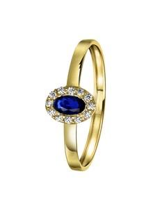 14 Karaat Gouden Ring Ovaal Met Zirkonia