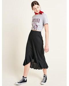 Rib Ruffle Hem Midi Skirt Black