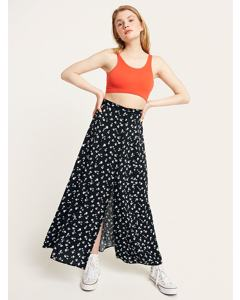 Sabrina Button Through Maxi Skirt Black