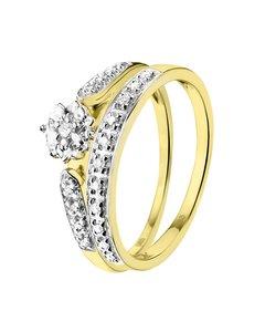 Geelgouden Dubbele Ring Met 20 Diamanten