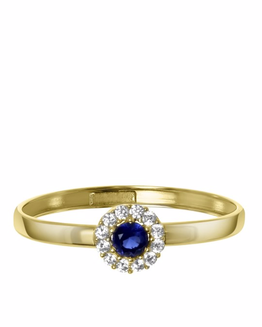 Lucardi 14 Karaat Geelgouden Ring Met Wit&blauwe Zirkonia