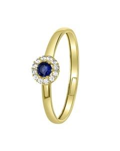 Ring aus 585 Gelbgold mit weißem und blauem Zirkonia