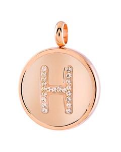 Just.d Stalen Hanger Roseplated Letter Kristal - H
