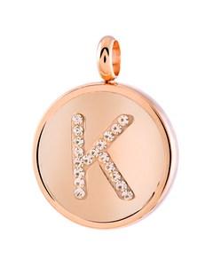 Just.d Stalen Hanger Roseplated Letter Kristal - K