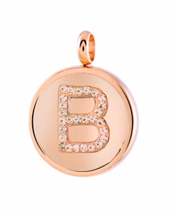 Just.d Stalen Hanger Roseplated Letter Kristal - B