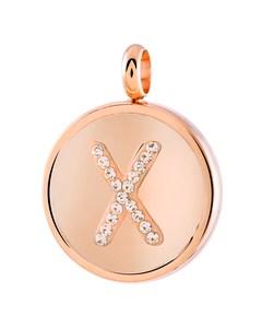 Just.d Stalen Hanger Roseplated Letter Kristal - X