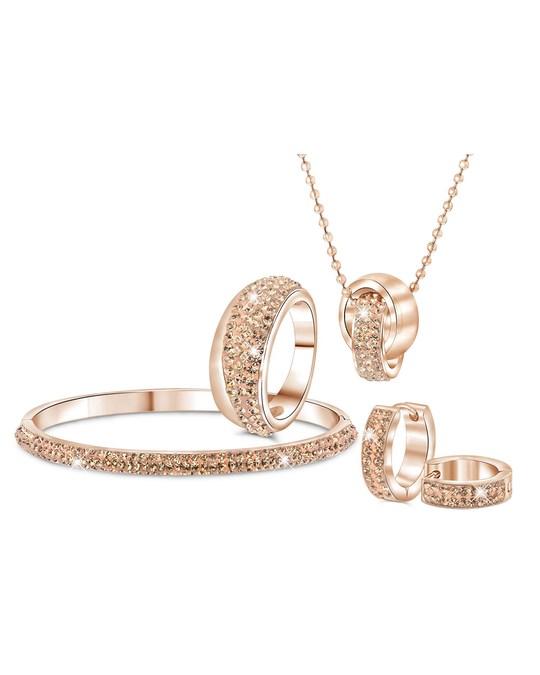 Lucardi Stalen Ring Roseplated Light Peach Kristal