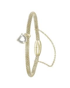 Stahlarmband Maschengewebe vergoldet Buchstabe mit Kristall - Buchstabe D