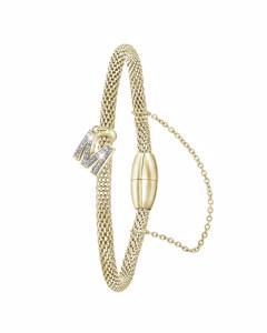 Stahlarmband Maschengewebe vergoldet Buchstabe mit Kristall - Buchstabe M
