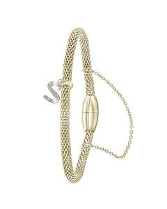 Stahlarmband Maschengewebe vergoldet Buchstabe mit Kristall - Buchstabe S