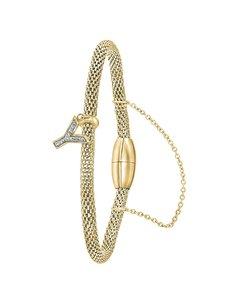 Stahlarmband Maschengewebe vergoldet Buchstabe mit Kristall - Buchstabe Y
