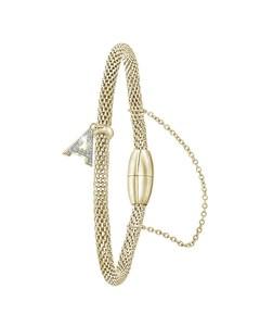 Stahlarmband Maschengewebe vergoldet Buchstabe mit Kristall - Buchstabe A