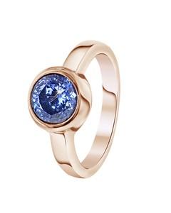 Stalen Ring Roseplated Met Licht Blauwe Zirkonia