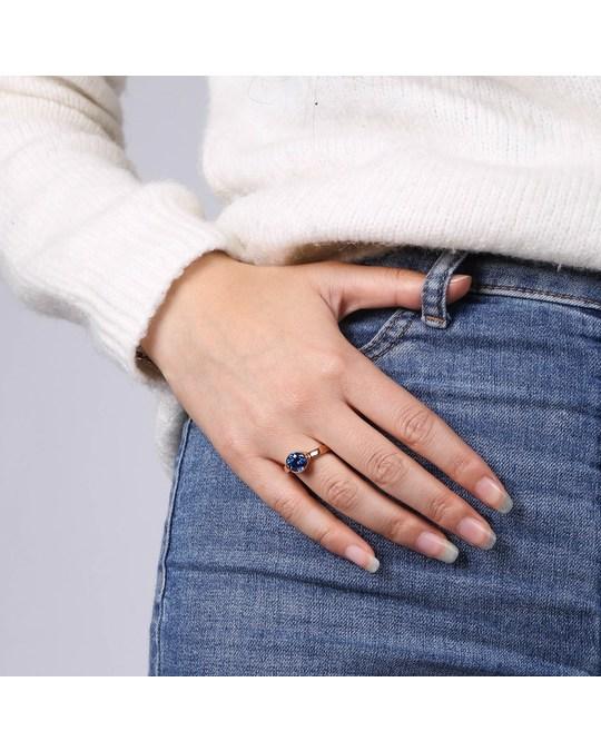 Lucardi Stalen Ring Roseplated Met Licht Blauwe Zirkonia