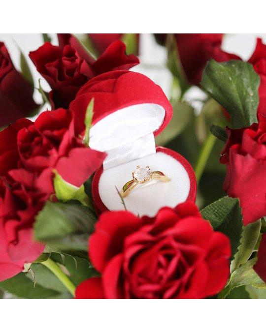 Lucardi Goldplated Ring Solitair Zirkonia