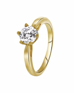 Goldplated Ring Solitair Zirkonia