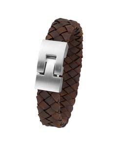 Armbanduhr aus Stahl für Herren, geflochtenes Leder, dunkelbraun