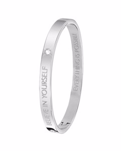 Guess Bangle-Stahlarmreif mit Text: Believe in yourself.
