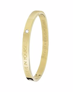 Bangle-Stahlarmband von Guess mit Text ,,Believe""