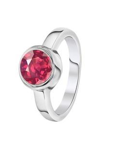 Stalen Ring Met Rhodolite Zirkonia
