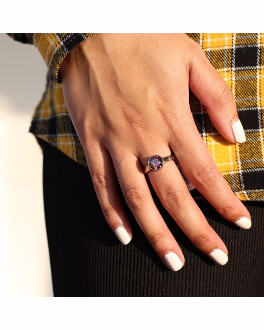 Lucardi Stalen Ring Met Rhodolite Zirkonia
