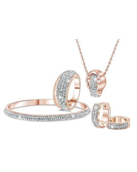 Lucardi Stalen Ring Roseplated Wit Kristal