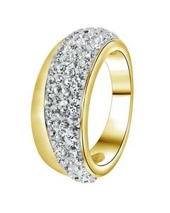 Stahlring vergoldet mit weißem Kristall