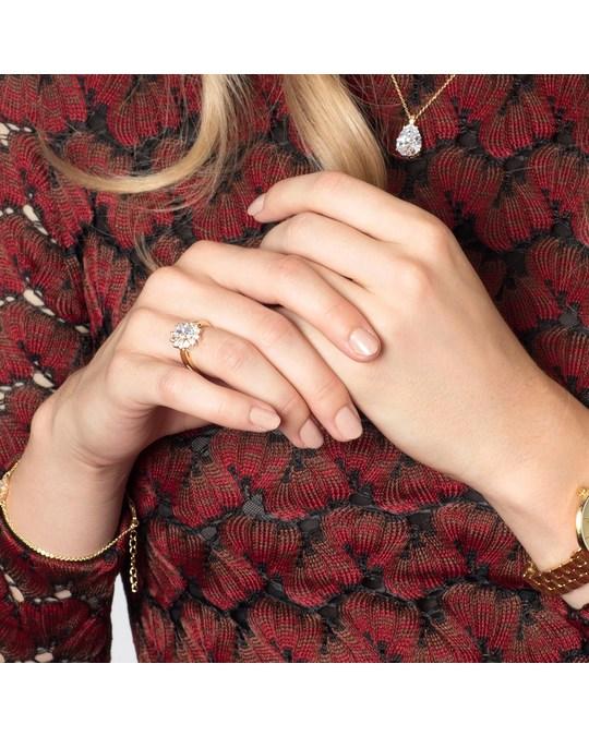 Lucardi Goldplated Ring White Met Zirkonia