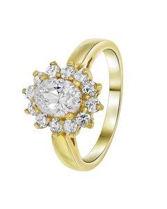 Vergoldeter Ring mit weißem Zirkonia