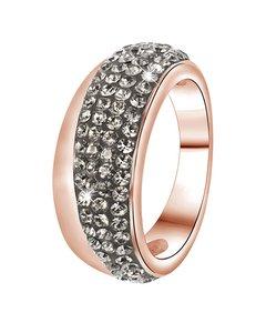 Stalen Ring Roseplated Black Diamond Kristal