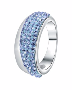 Stalen Ring Licht Sapphire Kristal