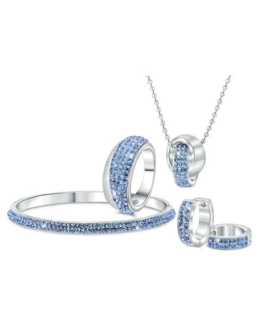 Lucardi Stalen Ring Licht Sapphire Kristal