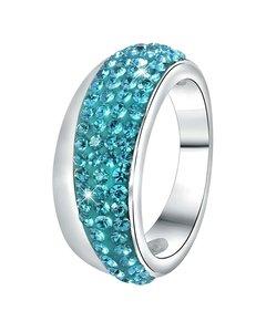 Stalen Ring Blauw Kristal
