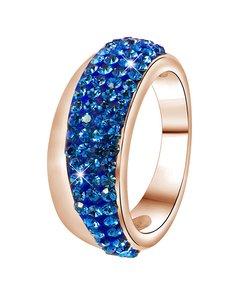 Stalen Ring Roseplated Sapphire Kristal