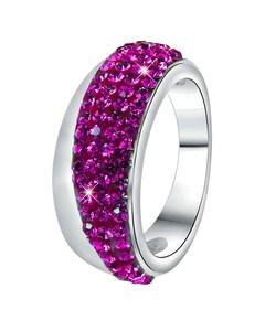 Stalen Ring Fuchsia Kristal