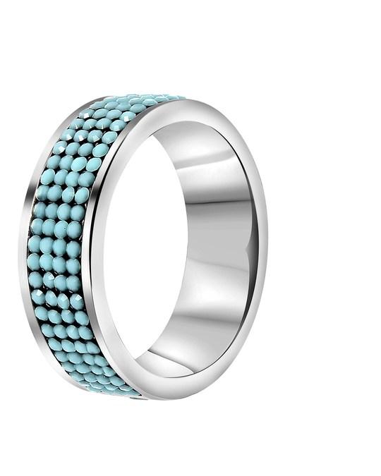 Lucardi Stalen Ring Turquoise Kristal