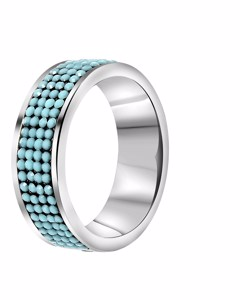 Stalen Ring Turquoise Kristal