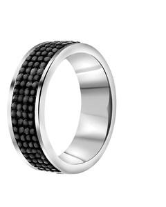 Ring aus Stahl,  Hematit/ Kristall