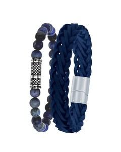 Stalen Set Met Licht Blauw Leer&dumortierite > Maat 21 Cm