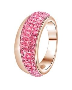 Stalen Ring Roseplated Roze Kristal