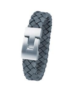 Stahl-Herrenarmband mit geflochtenem Leder in Marine