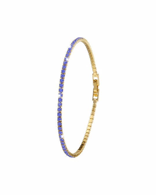 SELF MADE Vergoldetes Armband mit Saphir-Kristallen