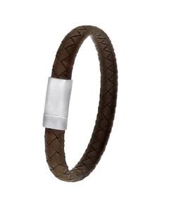 Armband aus Stahl für Herren, geflochtenes Leder, dunkelbraun