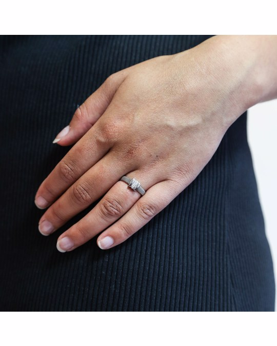 Lucardi Stalen Ring Mesh Met Kristal
