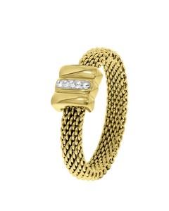 Stalen Ring Mesh Goldplated Met Kristal